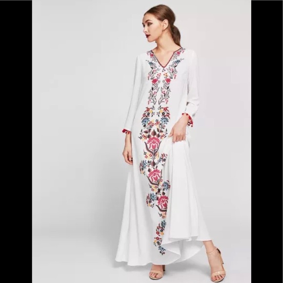 7b9f098530 SHEIN Dresses | Embroidered Tape Trim Symmetric Flower Print Dress ...